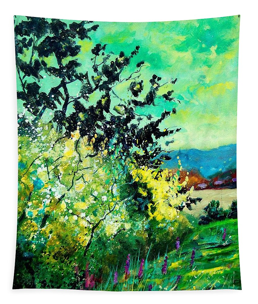 Spring Tapestry featuring the painting spring in Ciergnon by Pol Ledent