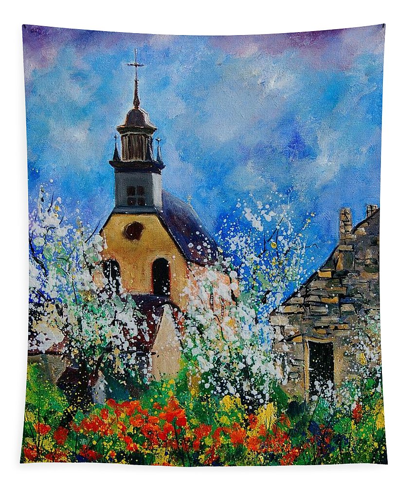 Spring Tapestry featuring the painting Spring In Foy Notre Dame Dinant by Pol Ledent
