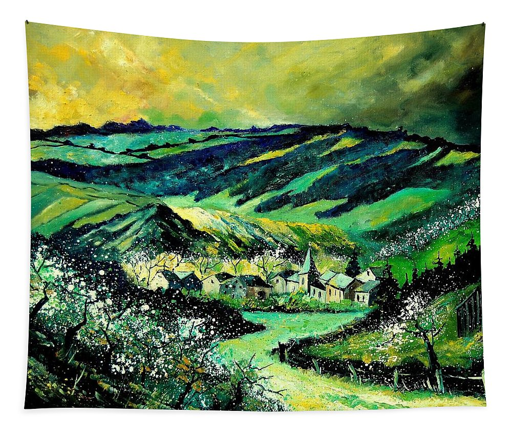 Landscape Tapestry featuring the painting Spring In Tha Ardennes by Pol Ledent