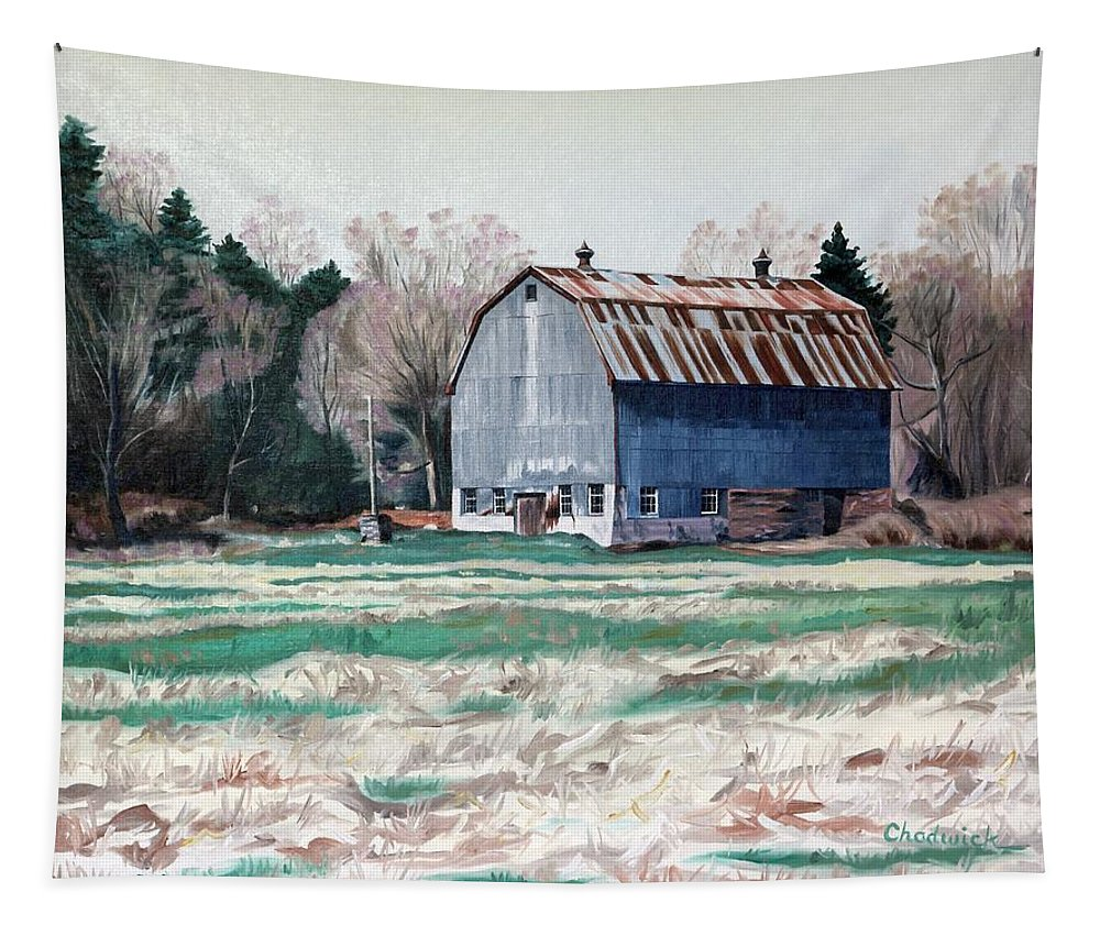 85 Tapestry featuring the painting Spring On The Thousand Island Parkway by Phil Chadwick
