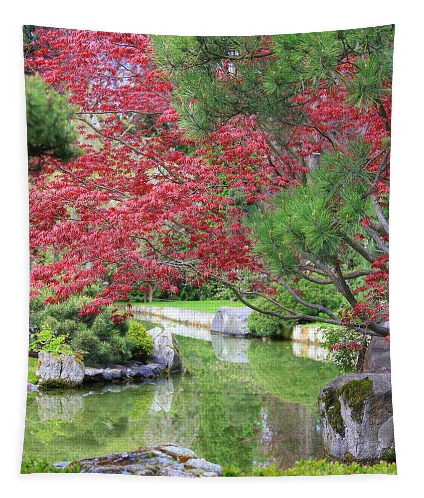 Spring Tapestry featuring the photograph Spring Pond Reflection by Carol Groenen