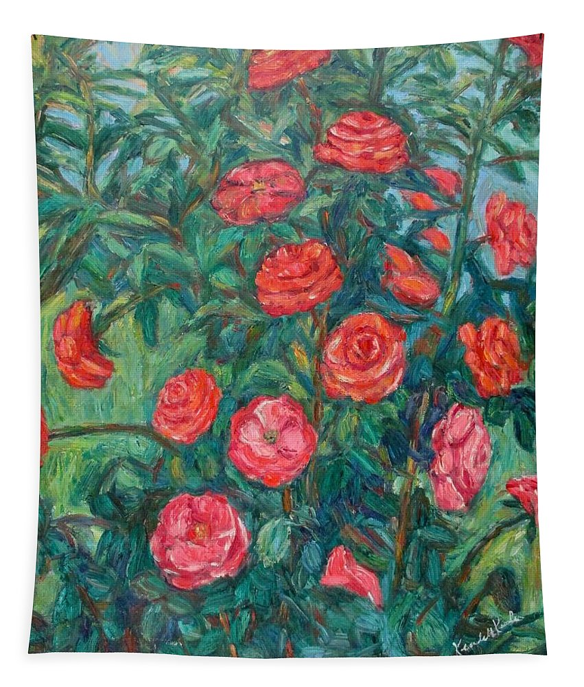 Rose Tapestry featuring the painting Spring Roses by Kendall Kessler