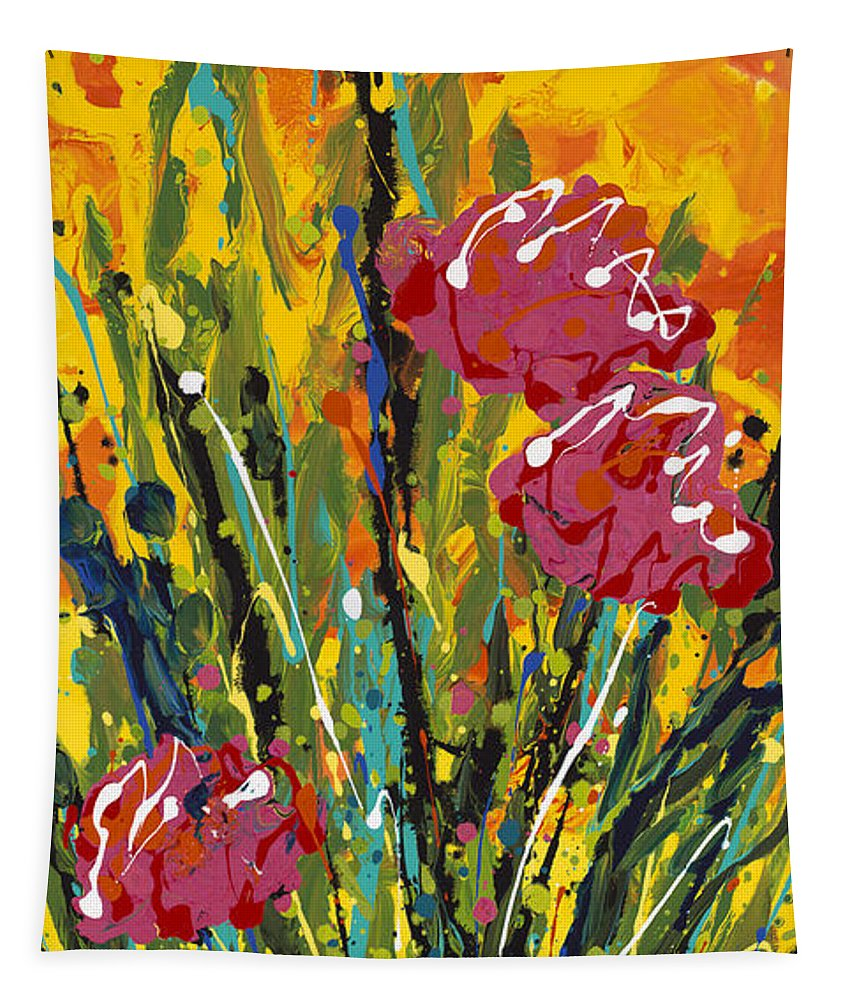 Flowers Tapestry featuring the painting Spring Tulips Triptych Panel 2 by Nadine Rippelmeyer