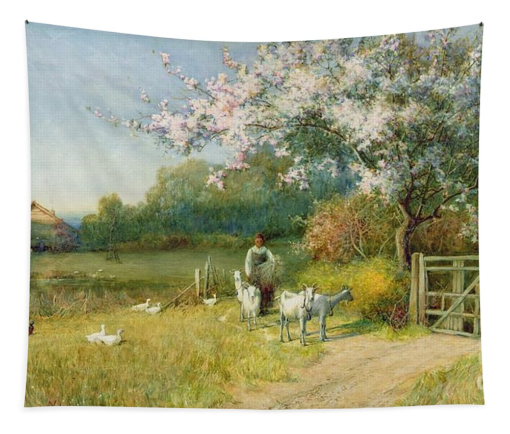 Springtime By Sir Alfred East (1849-1913) Tapestry featuring the painting Springtime by Sir Alfred East