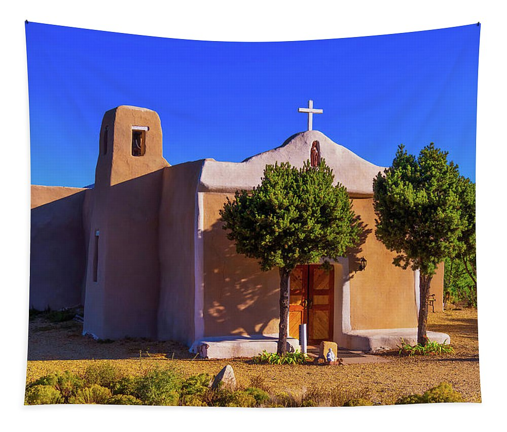 Church Tapestry featuring the photograph St. Francis De Assisi Adobe Church by Stephen Anderson