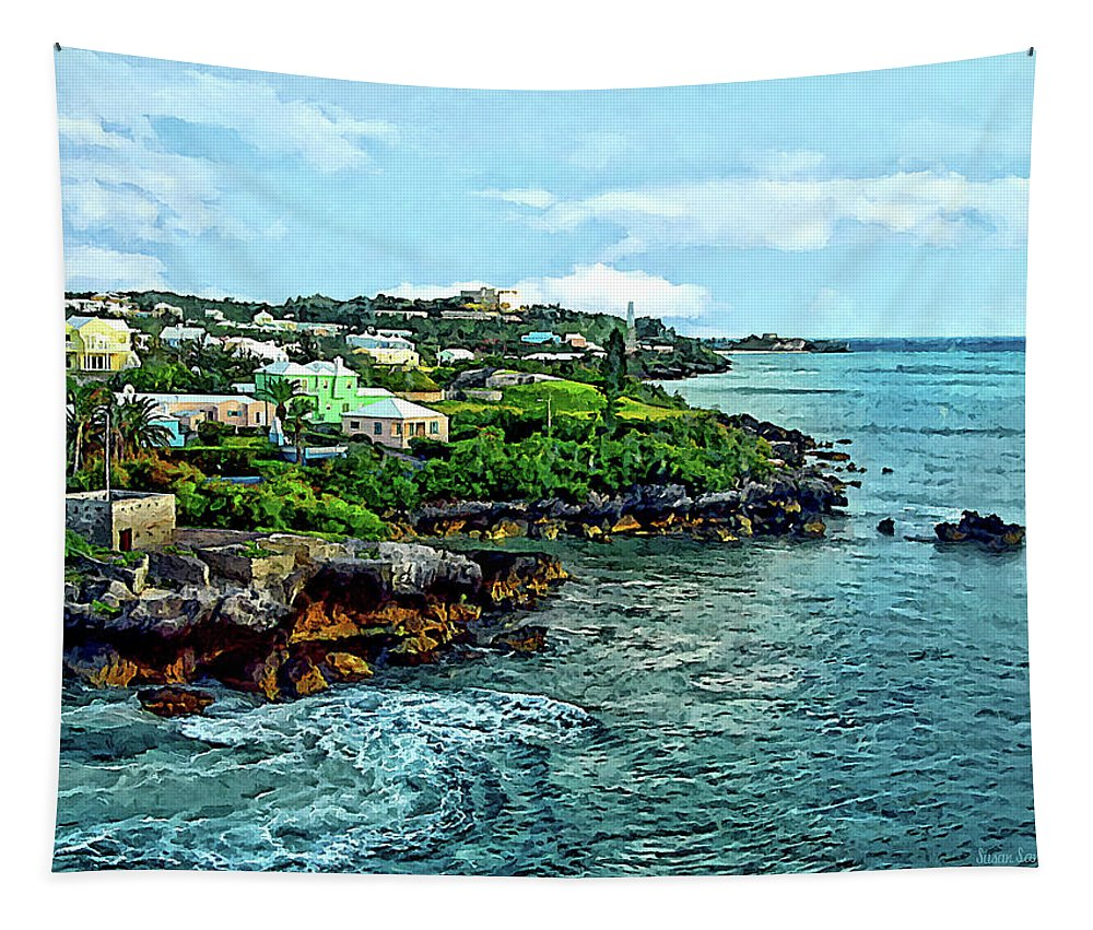 St George Tapestry featuring the photograph St. George Bermuda Shoreline by Susan Savad