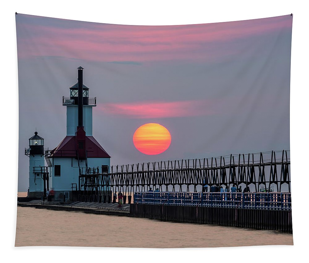 3scape Tapestry featuring the photograph St. Joseph Lighthouse At Sunset by Adam Romanowicz
