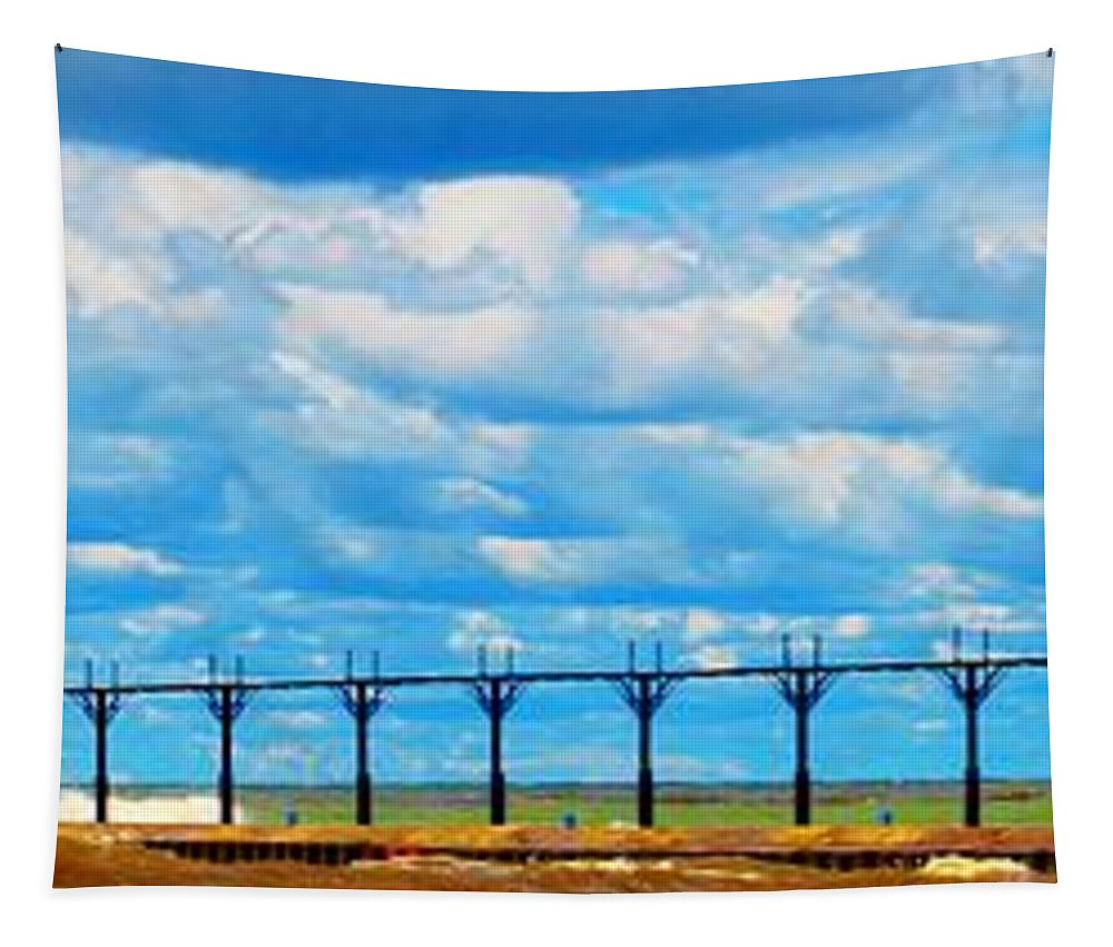 Tapestry featuring the photograph St. Joseph Lights by Daniel Thompson