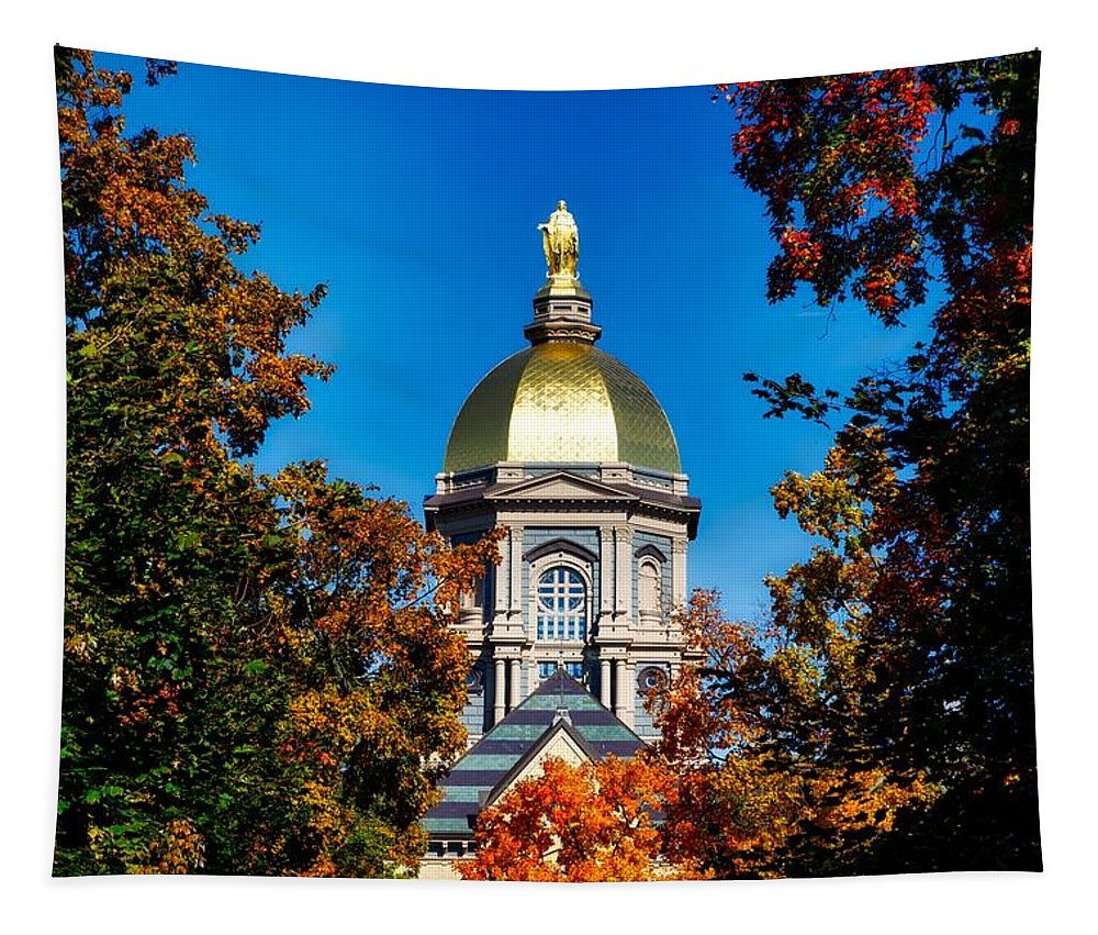 Notre Dame University Tapestry featuring the photograph St Mary Atop The Golden Dome Of Notre Dame by Mountain Dreams
