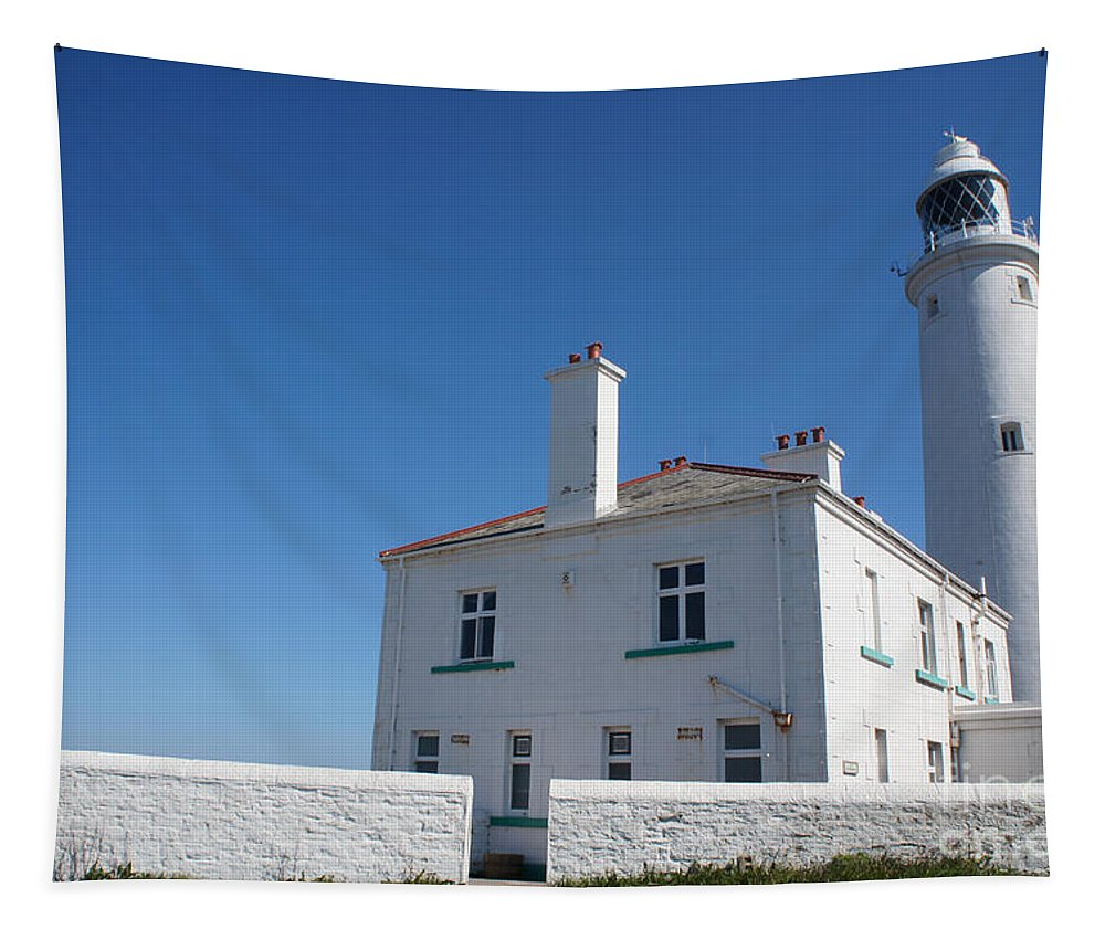 Lighthouse Tapestry featuring the photograph St. Mary's Island And The Lighthouse. by Elena Perelman
