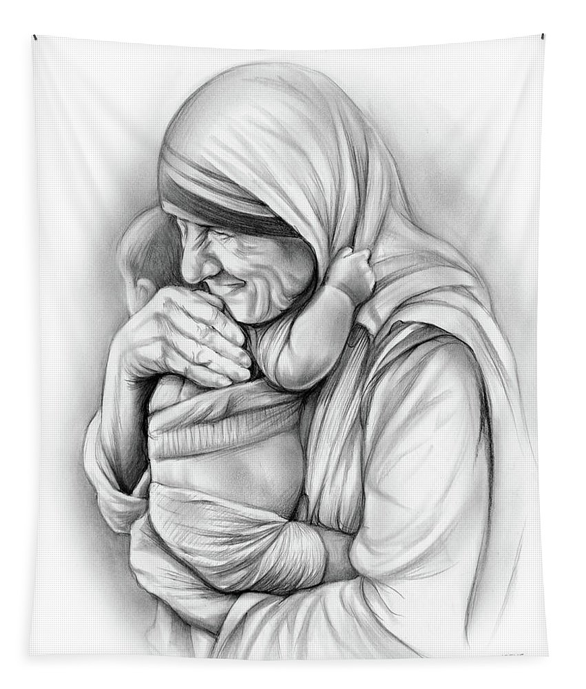 Church tapestry featuring the drawing st mother teresa by greg joens