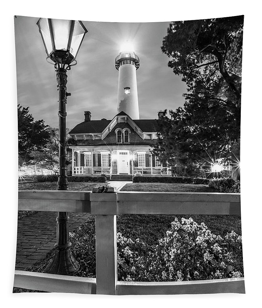 Clouds Tapestry featuring the photograph St. Simons Lighthouse Black And White by Debra and Dave Vanderlaan