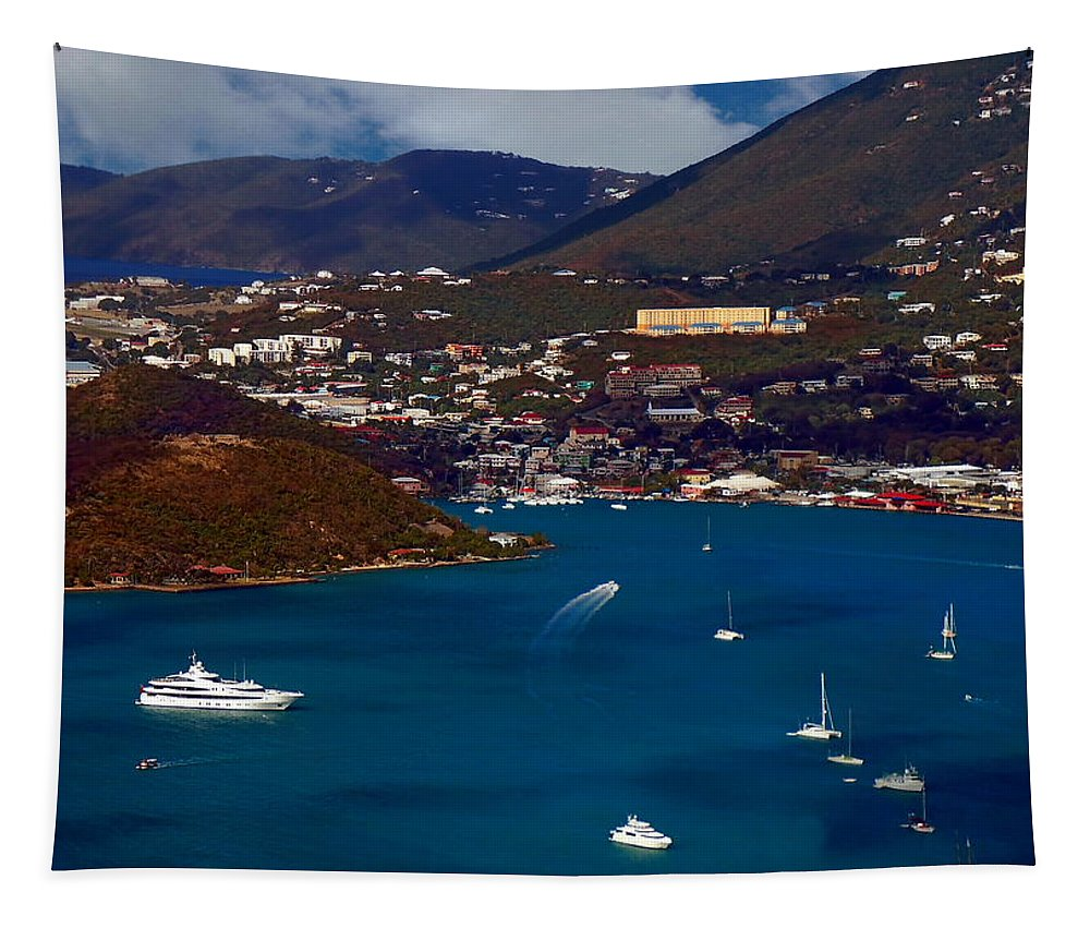 Eleuthra Tapestry featuring the photograph St. Thomas Bay by Anthony Dezenzio