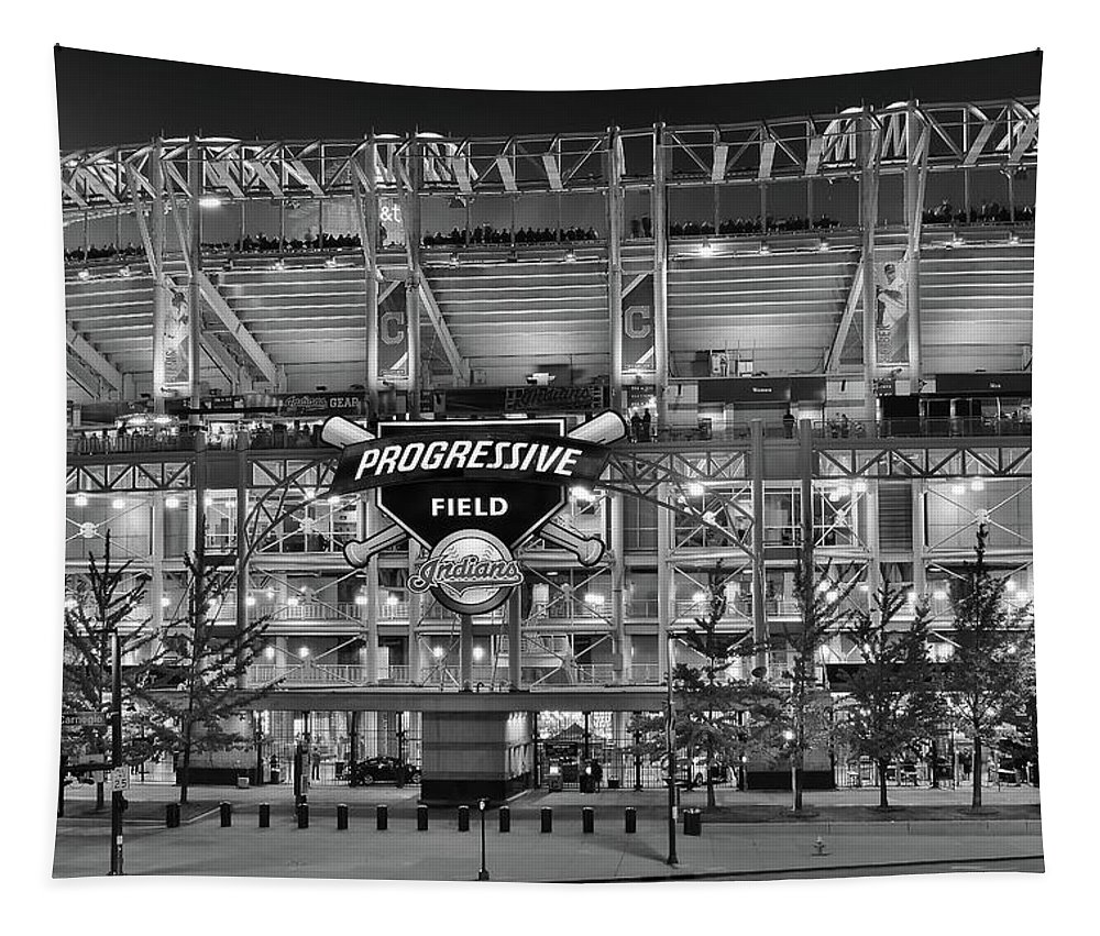 Cleveland Tapestry featuring the photograph Stadium Black And White by Frozen in Time Fine Art Photography