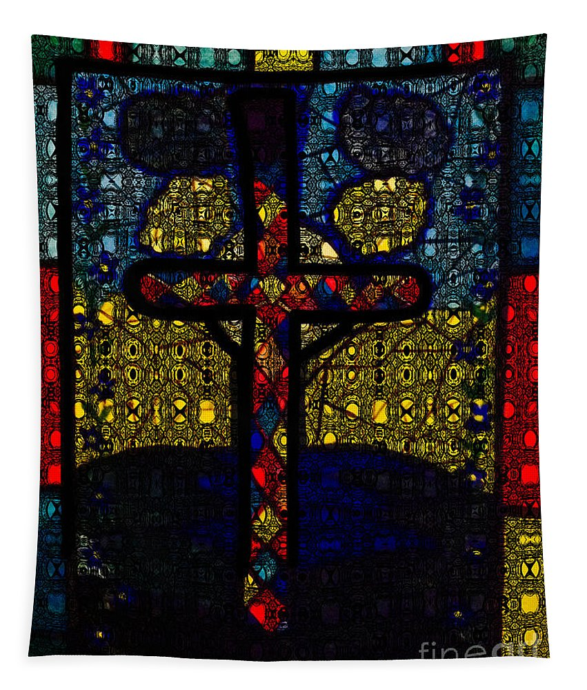 Bright Red Tapestry featuring the painting Stained Glass Reworked by Debra Lynch
