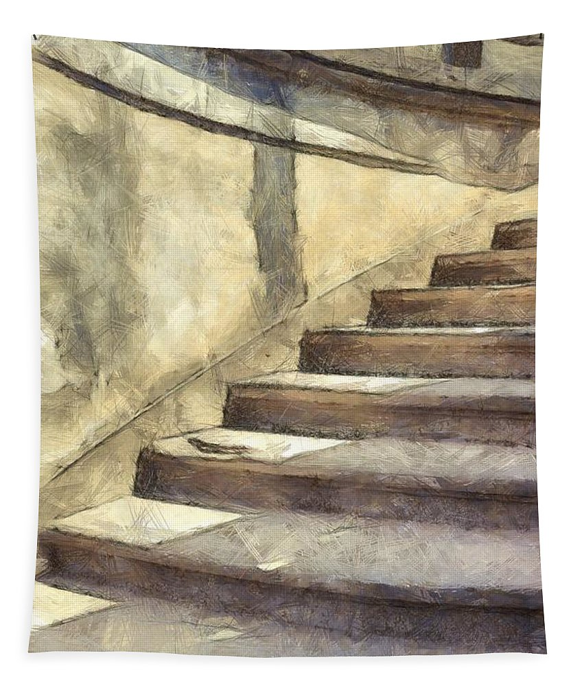 Stairs Tapestry featuring the photograph Staircase At Pitti Palace Florence Pencil by Edward Fielding