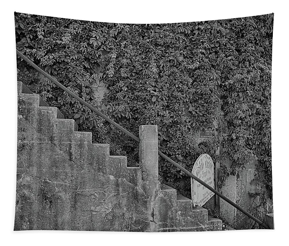 Jerome Tapestry featuring the photograph Stairs In Black And White by Charles Scrofano Jr
