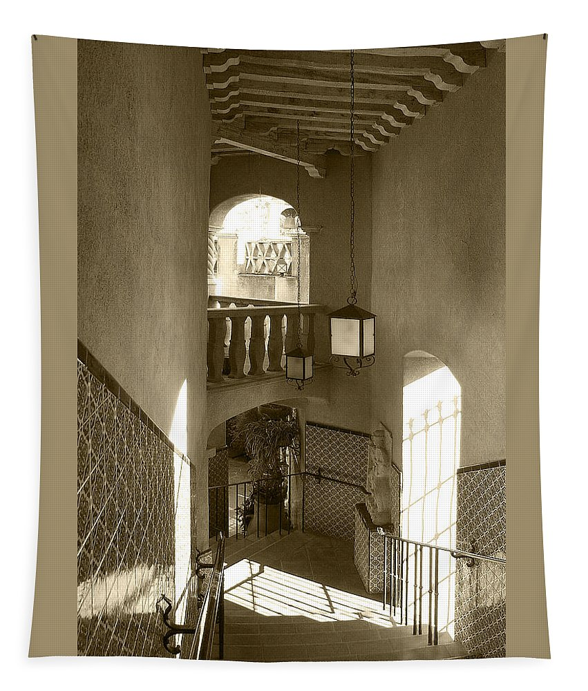 Architecture Tapestry featuring the photograph Stairway - In Sepia by Ben and Raisa Gertsberg