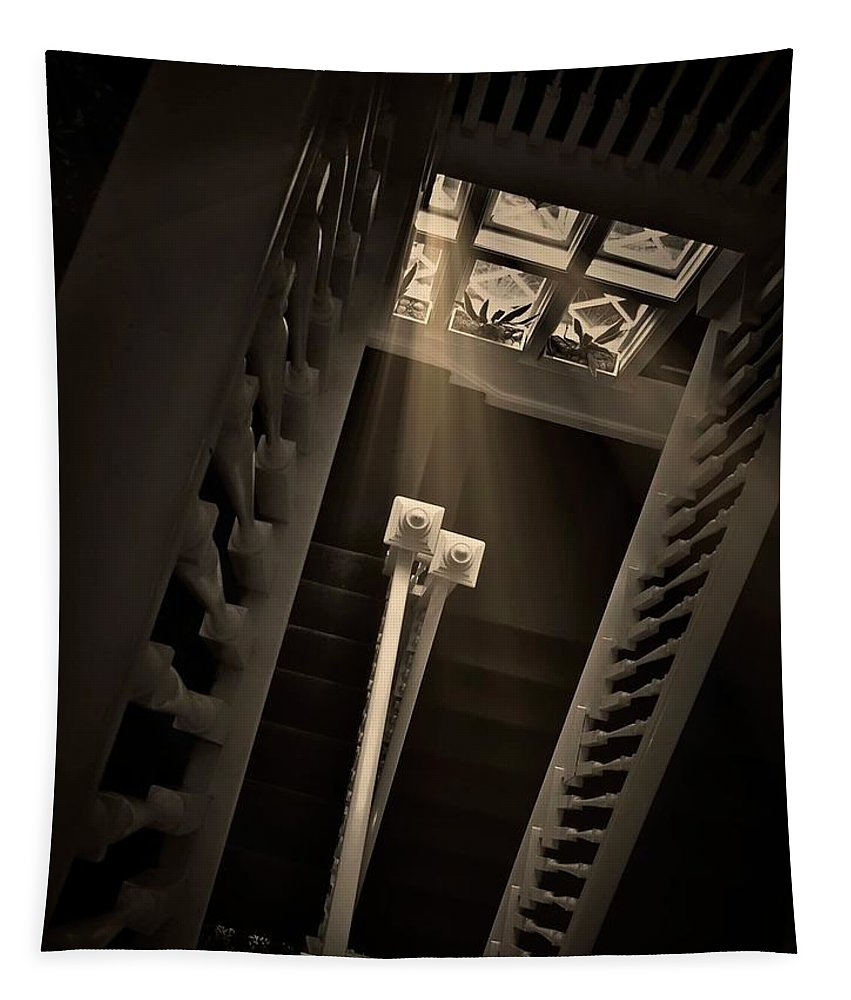 Old Tapestry featuring the photograph Stairway Light, Redstone Castle, Colorado by Zayne Diamond Photographic