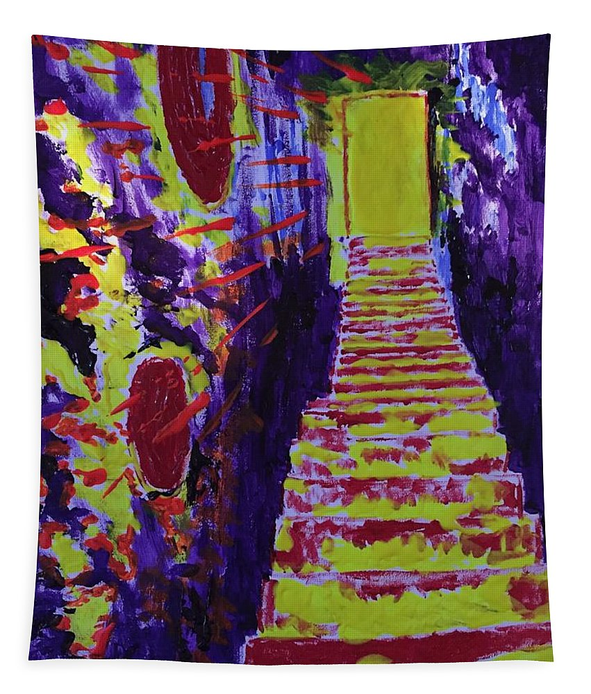 Stairway To Heaven Tapestry featuring the painting Stairway To Heaven by Jack Bunds