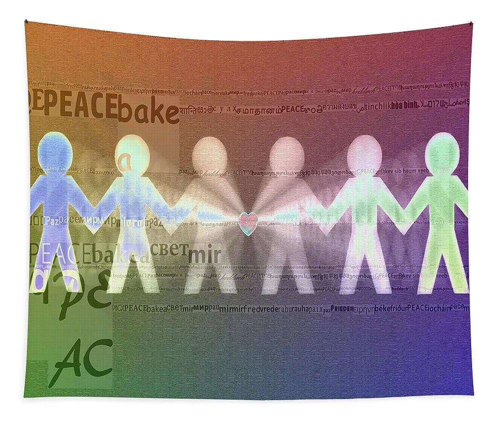 Stand Together In Peace Tapestry featuring the digital art Stand Together In Peace by Dan Sproul