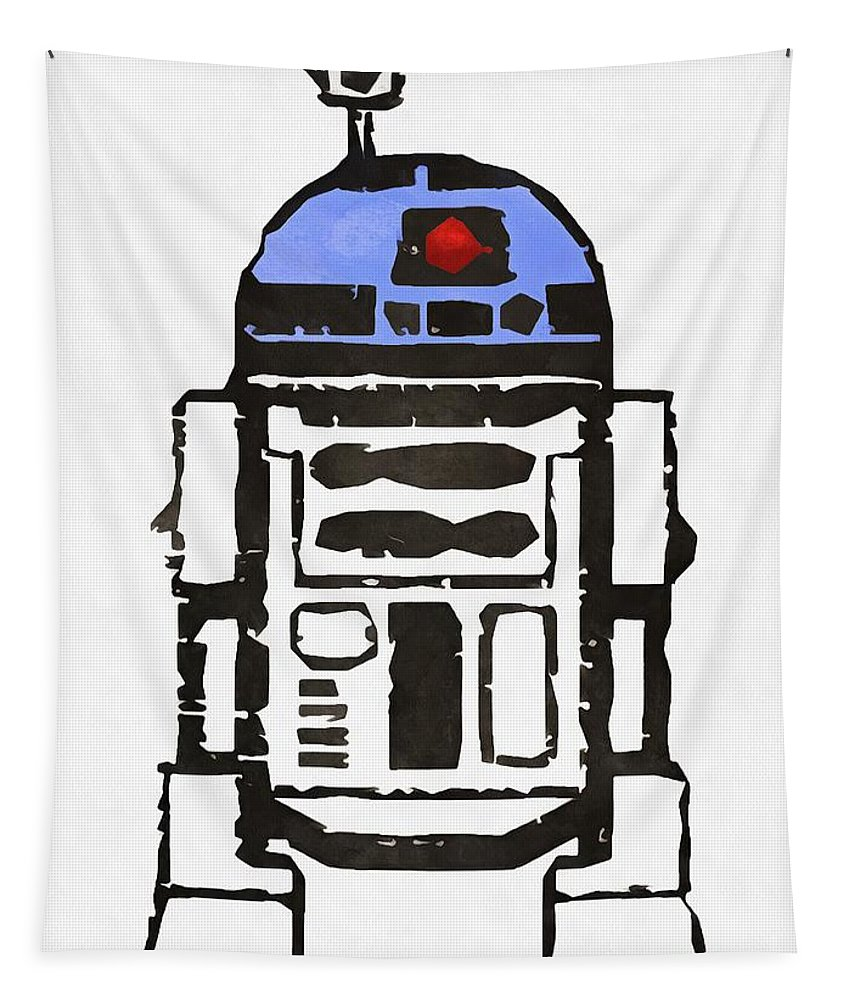 Star Wars Tapestry featuring the painting Star Wars R2d2 Droid Robot by Edward Fielding