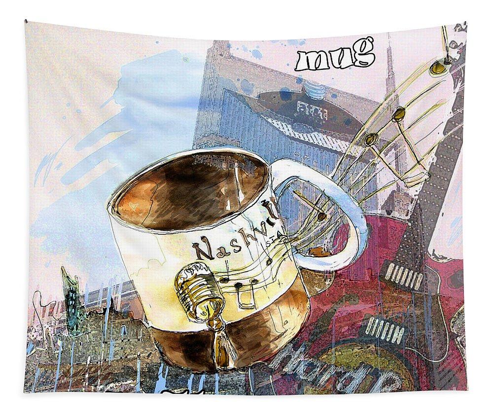 Mugs Tapestry featuring the painting Starbucks Mug Nashville by Miki De Goodaboom