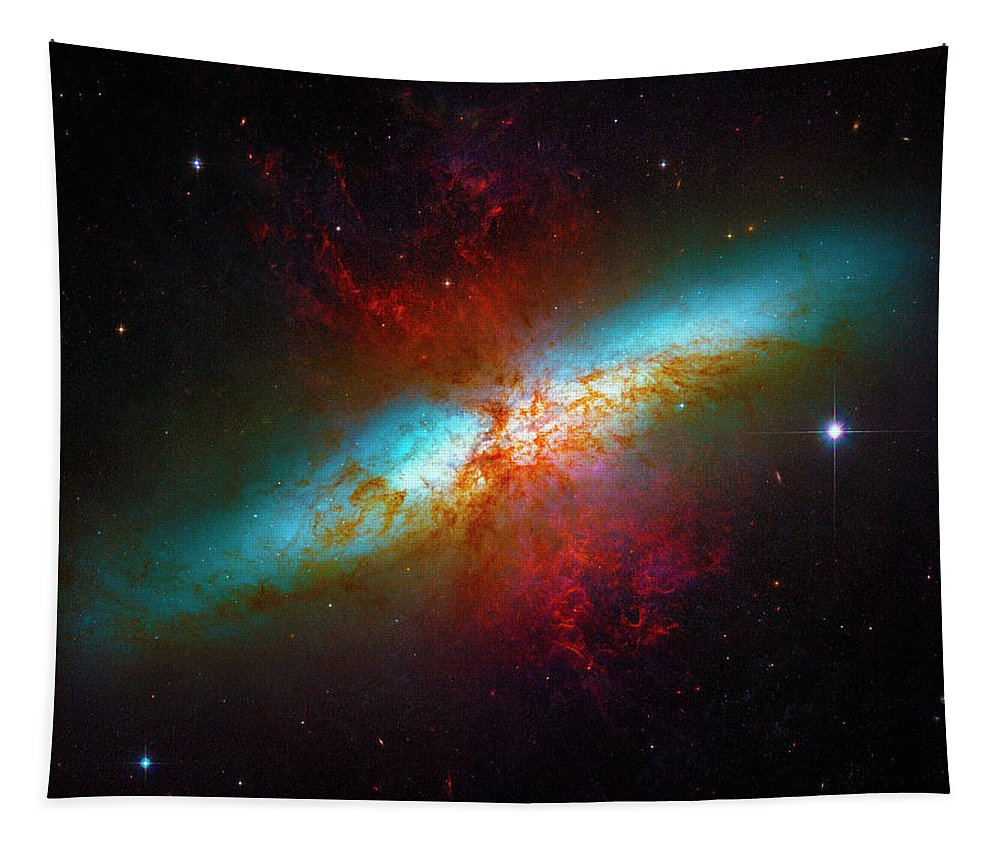 Starburst Galaxy M82 Tapestry featuring the photograph Starburst Galaxy M82 by Paul W Faust - Impressions of Light