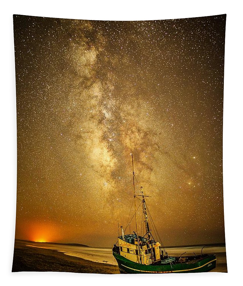 Fishing Boat Tapestry featuring the photograph Stars Over Fishing Boat by Unsplash