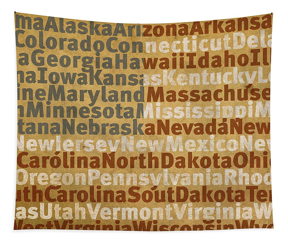 State Tapestry featuring the mixed media State Names American Flag Word Art Red White And Blue by Design Turnpike