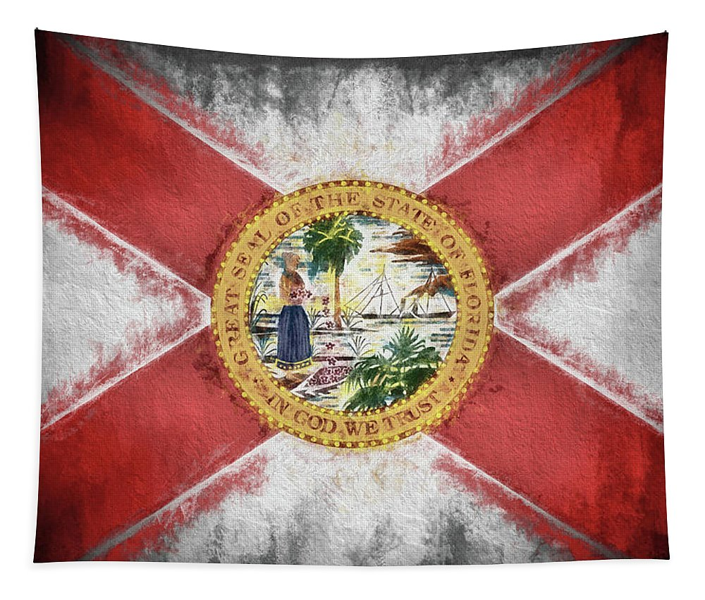 State Of Florida Flag Tapestry featuring the digital art State Of Florida Flag by JC Findley