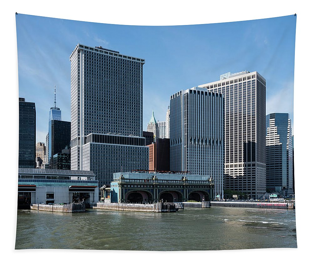 New York City Staten Island Ferry Docks Tapestry featuring the photograph Staten Island Ferry Docks by Robert VanDerWal