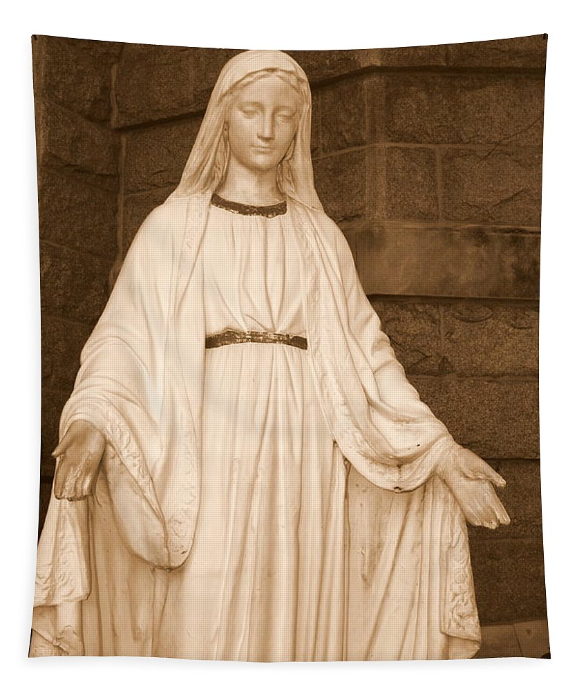 Statue Of Mary Tapestry featuring the photograph Statue Of Mary At Sacred Heart In Tampa by Carol Groenen