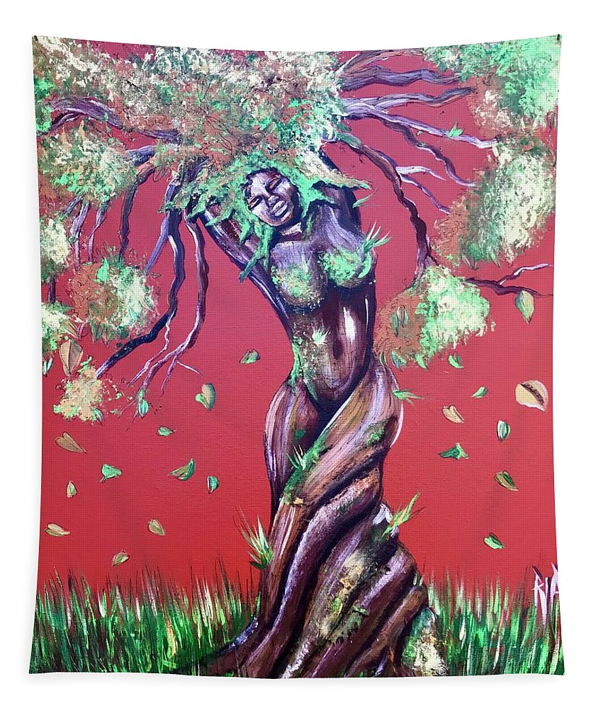 Tree Tapestry featuring the painting Stay Rooted- Stay Grounded by Artist RiA