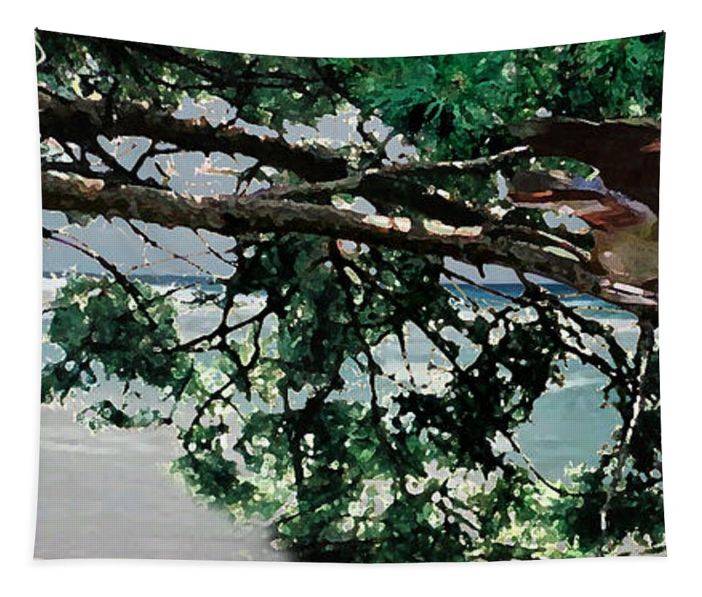 Landscape Tapestry featuring the painting Stealth by Steve Karol