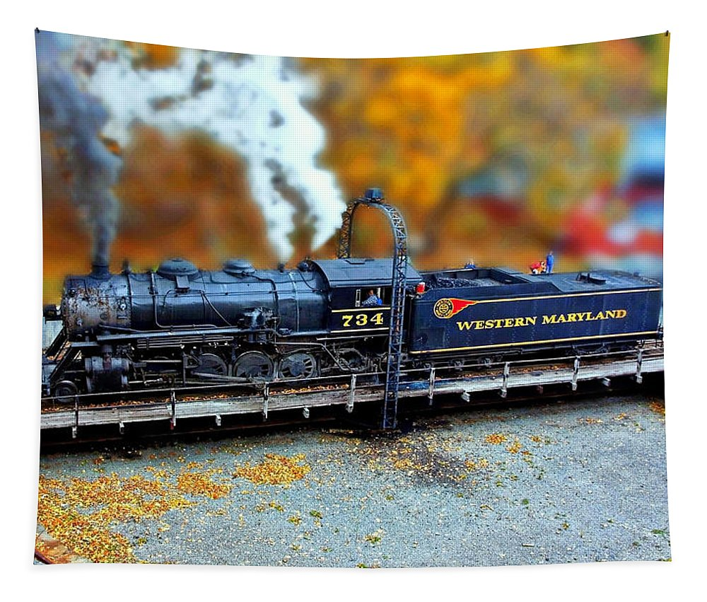 Steam Engine 734 Tapestry featuring the photograph Steam Engine Tilt Shift by Suzanne Stout