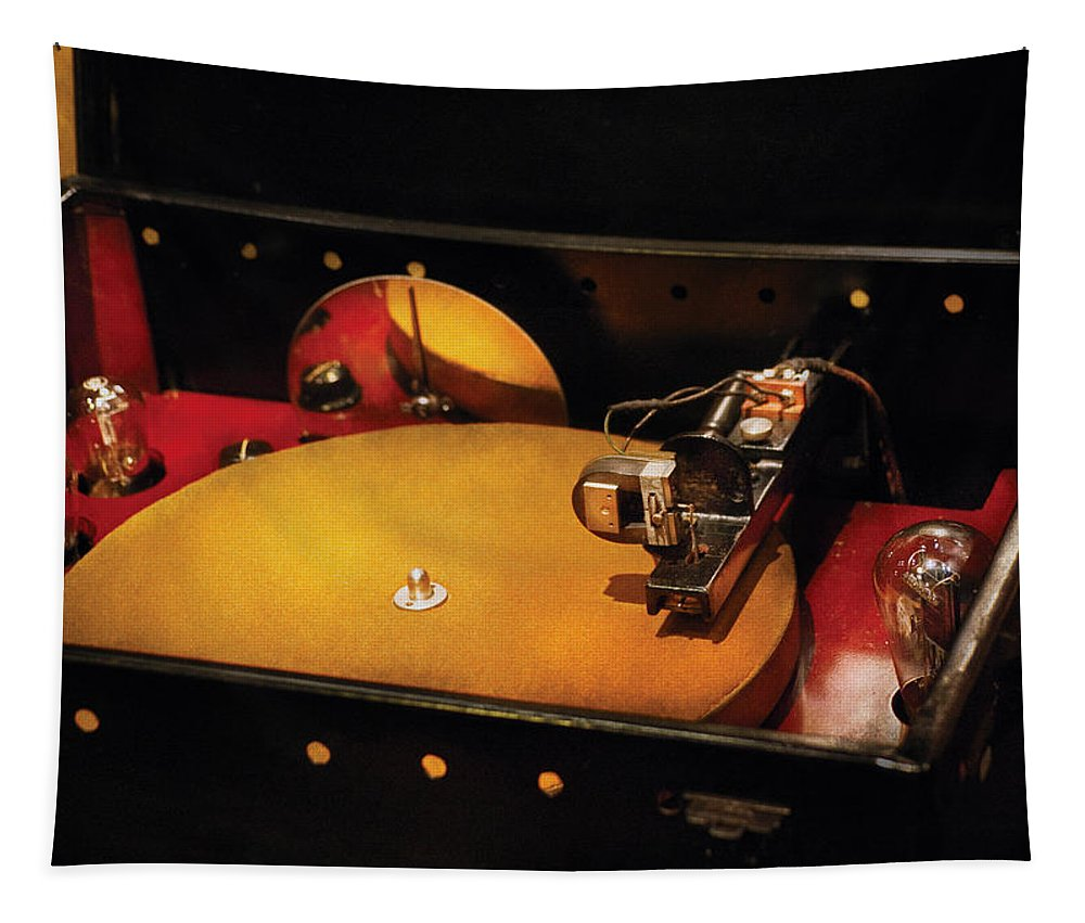 Savad Tapestry featuring the photograph Steam Punk - Hey Dj Make Some Noise Cine-music System by Mike Savad