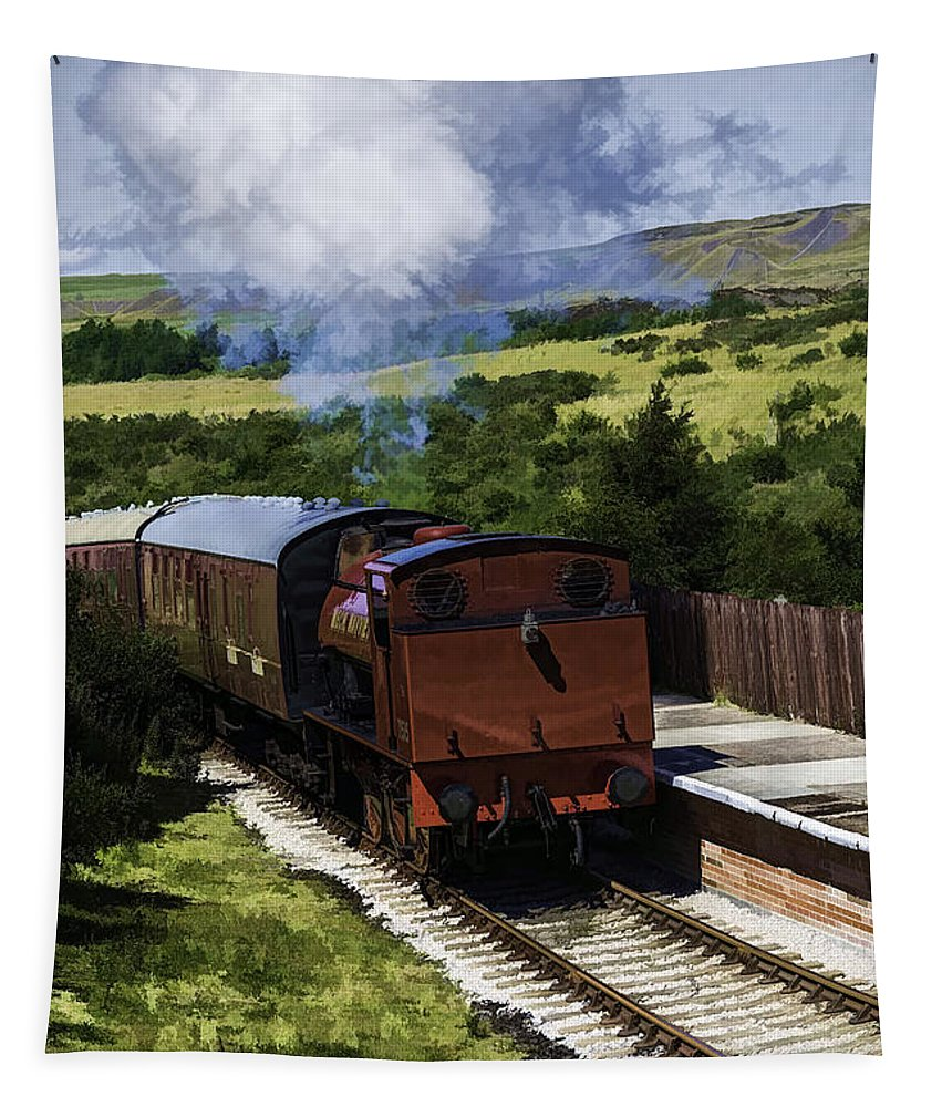71515 Mech Navvies Ltd Tapestry featuring the photograph Steam Train 2 Oil Painting Effect by Steve Purnell