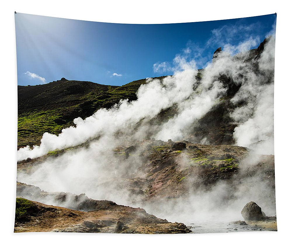 Iceland Tapestry featuring the photograph Steaming Hot Springs In Reykjadalur Iceland by Matthias Hauser