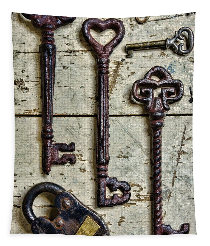 Paul Ward Tapestry featuring the photograph Steampunk - Old Skeleton Keys by Paul Ward