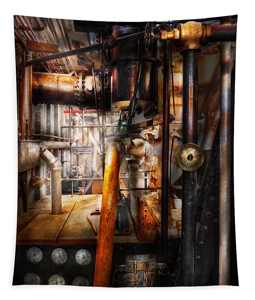 Steampunk Tapestry featuring the photograph Steampunk - Plumbing - Pipes by Mike Savad