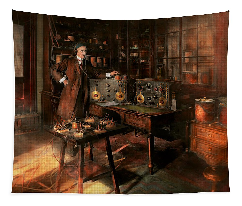 J. Harris Rogers Tapestry featuring the photograph Steampunk - The Time Traveler 1920 by Mike Savad