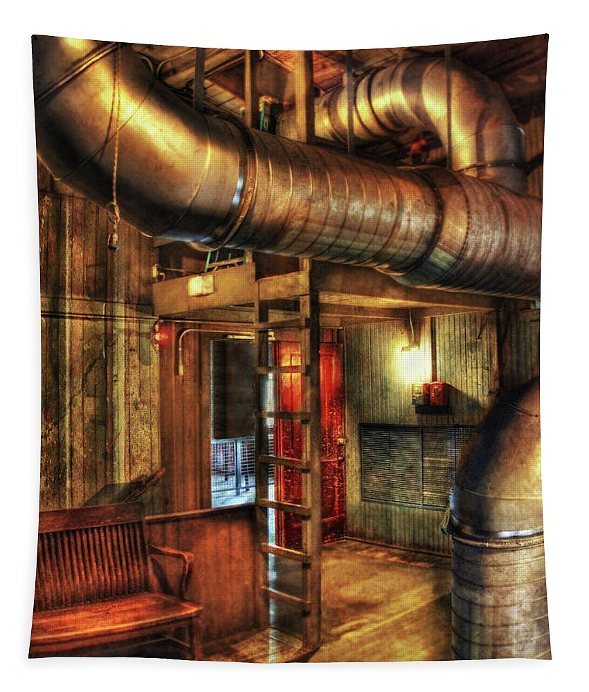 Vent Tapestry featuring the photograph Steampunk - Where The Pipes Go by Mike Savad