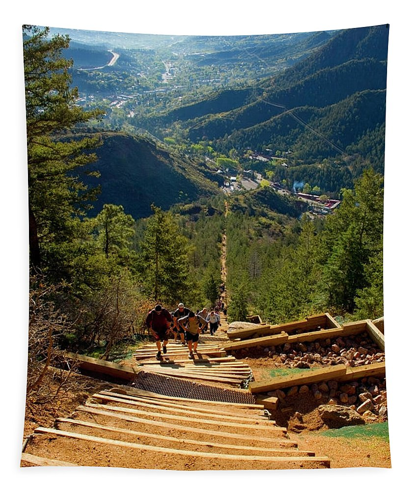 Hikers Tapestry featuring the photograph Steep Manitou Incline And Barr Trail by Steve Krull