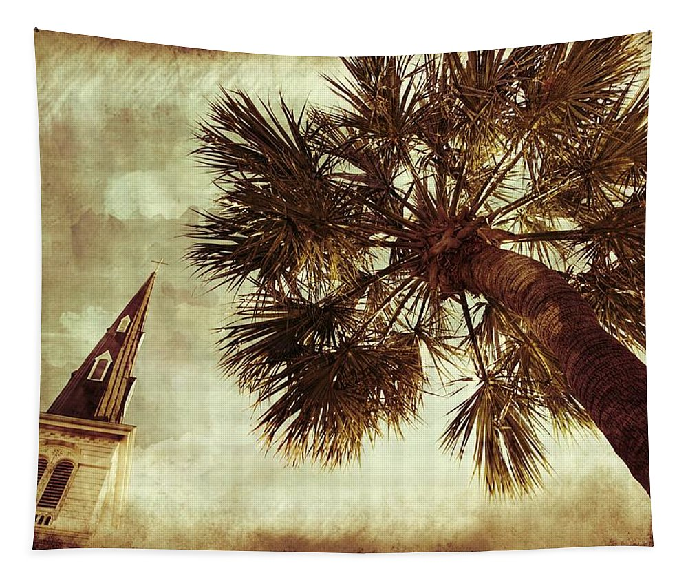 Alicegipsonphotographs Tapestry featuring the photograph Steeple Sepia by Alice Gipson