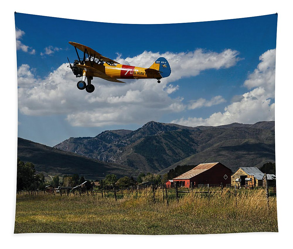 Airplane Tapestry featuring the photograph Steerman Bi-plane by Nick Gray