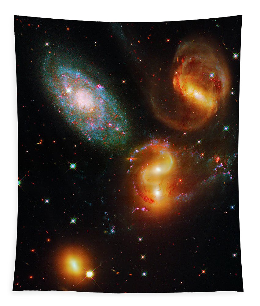 Stephan's Quintet Tapestry featuring the photograph Stephan's Quintet by Paul W Faust - Impressions of Light