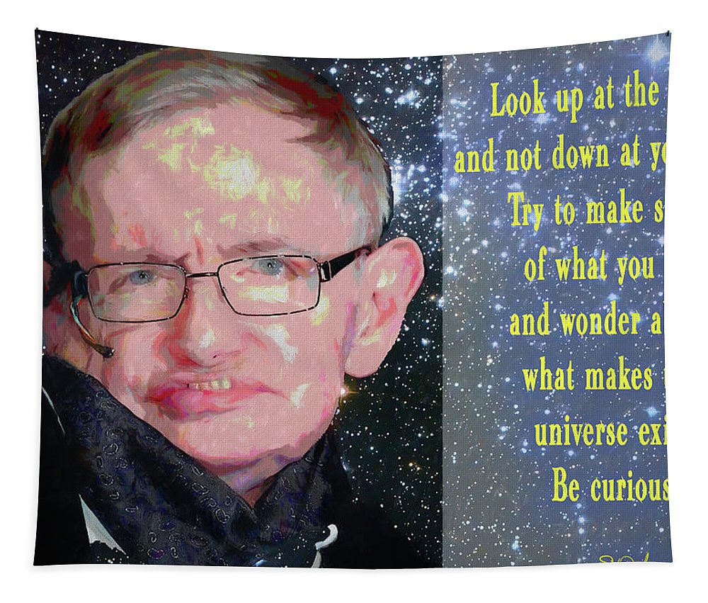 Stephen Hawking Poster Tapestry featuring the mixed media Stephen Hawking Poster by Dan Sproul