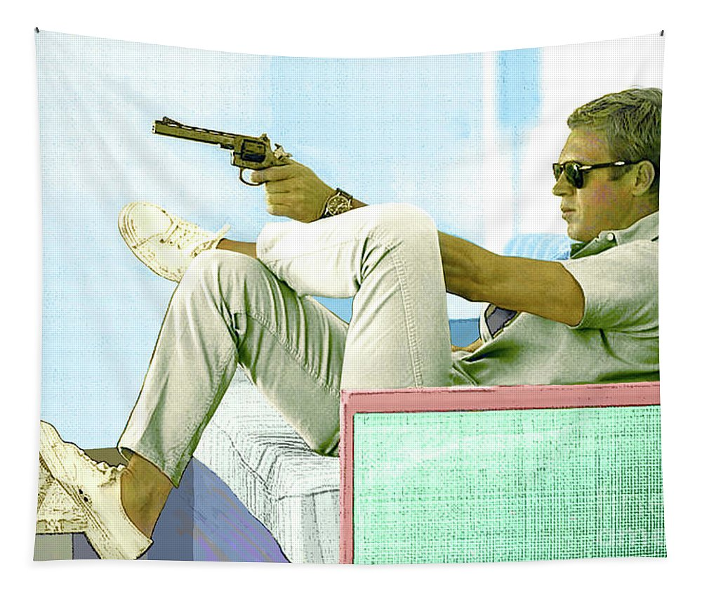 Steve Mcqueen Tapestry featuring the mixed media Steve McQueen, Colt revolver, Palm Springs, CA by Thomas Pollart