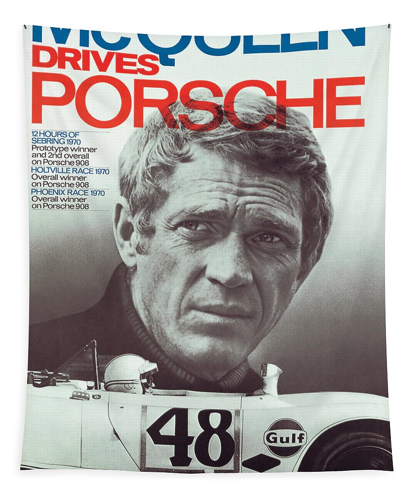 Steve Mcqueen Drives Porsche Tapestry featuring the digital art Steve McQueen Drives Porsche by Georgia Fowler